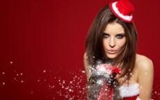новый год, девушка, дует, снег